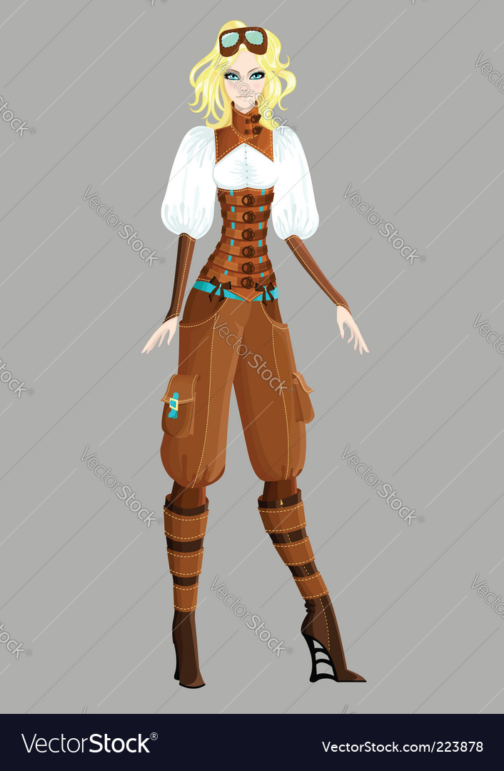 Steam punk girl vector | Price: 3 Credit (USD $3)