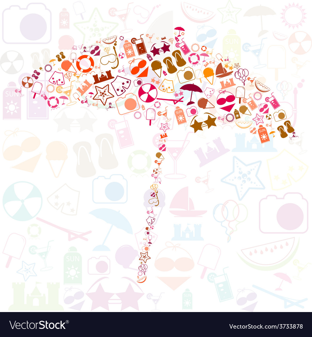Summer icons with white background - silhouette vector | Price: 1 Credit (USD $1)