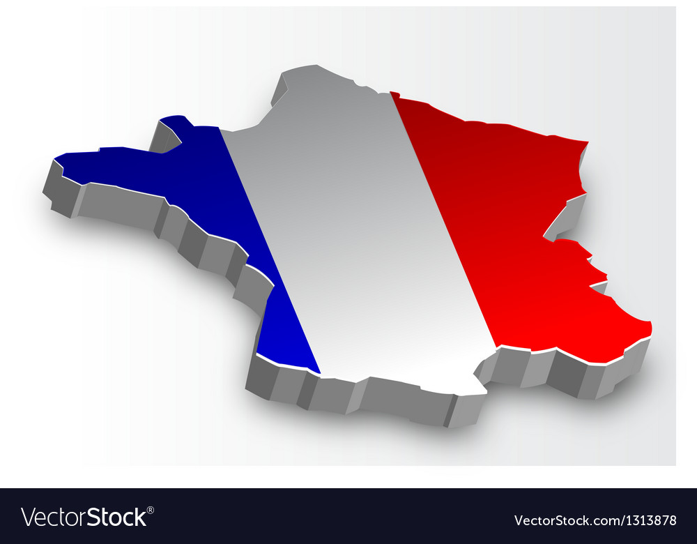 Three dimensional map of france in flag colors vector | Price: 1 Credit (USD $1)