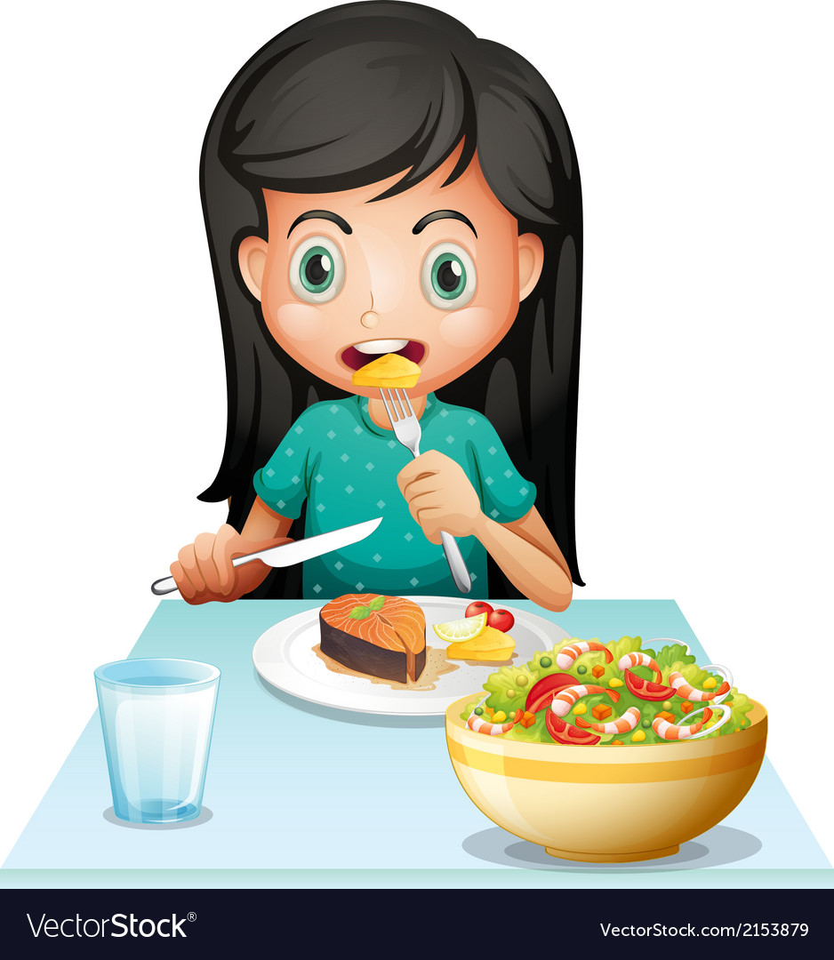 A girl eating her lunch vector | Price: 3 Credit (USD $3)