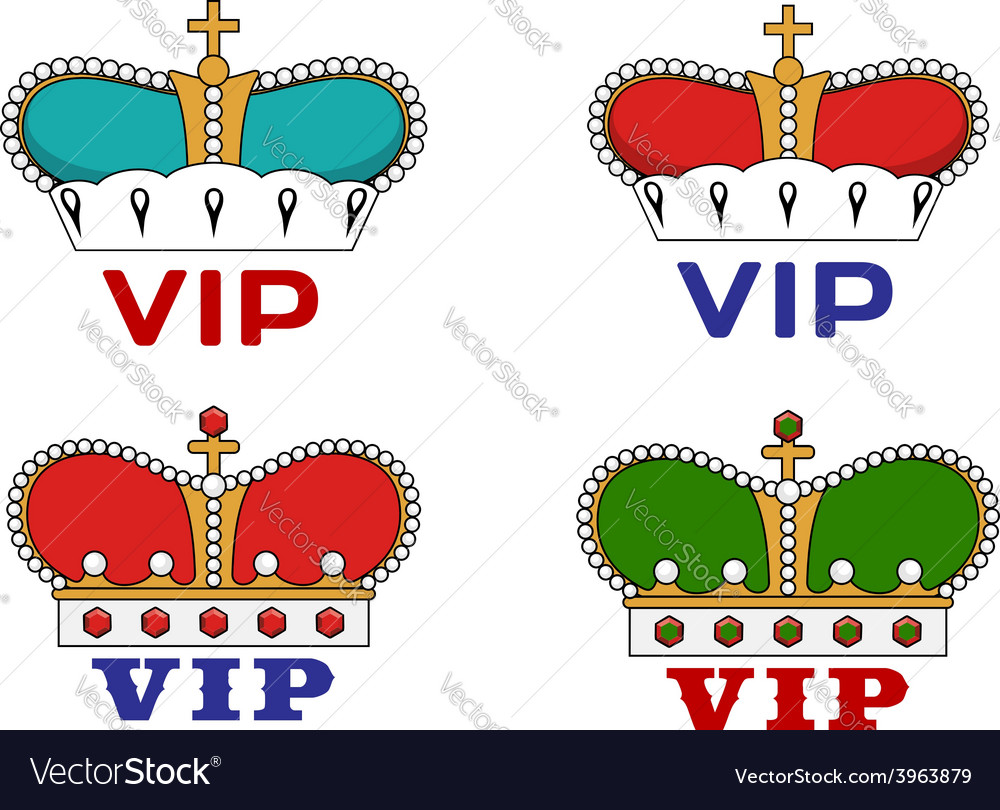 Crowns with vip sign vector | Price: 1 Credit (USD $1)