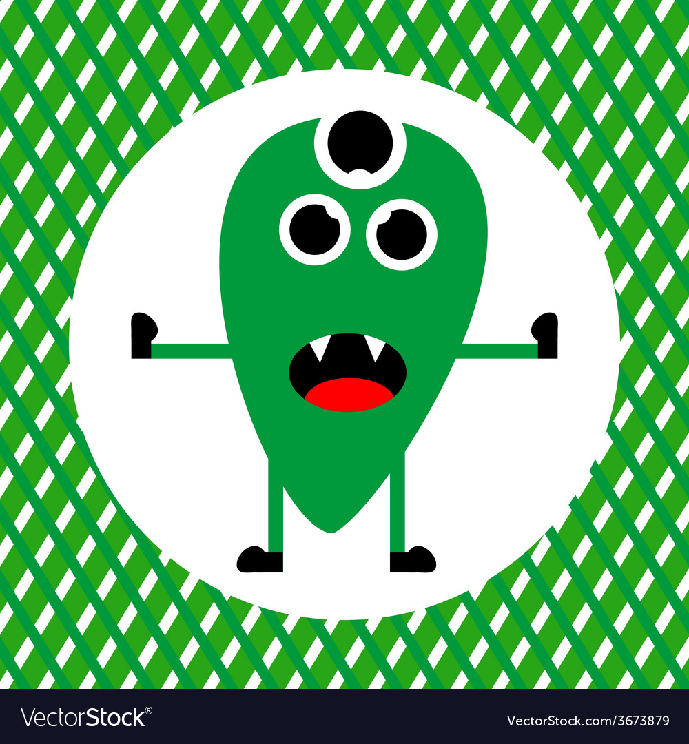 Cute green monster with three eyes vector | Price: 1 Credit (USD $1)