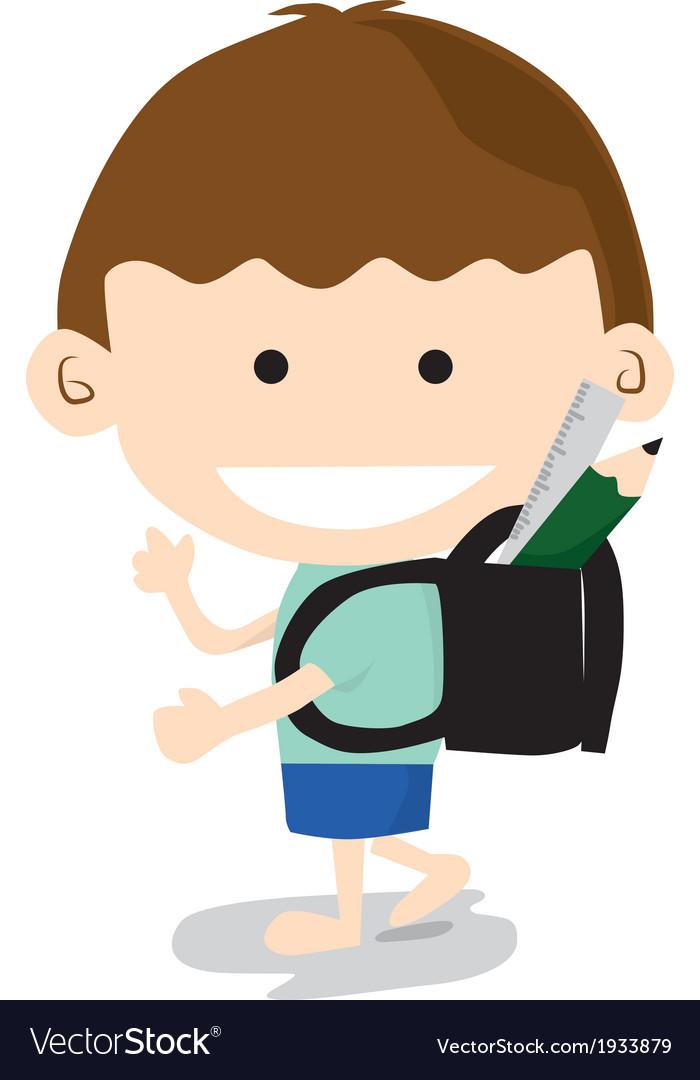 Little boy go to school vector | Price: 1 Credit (USD $1)