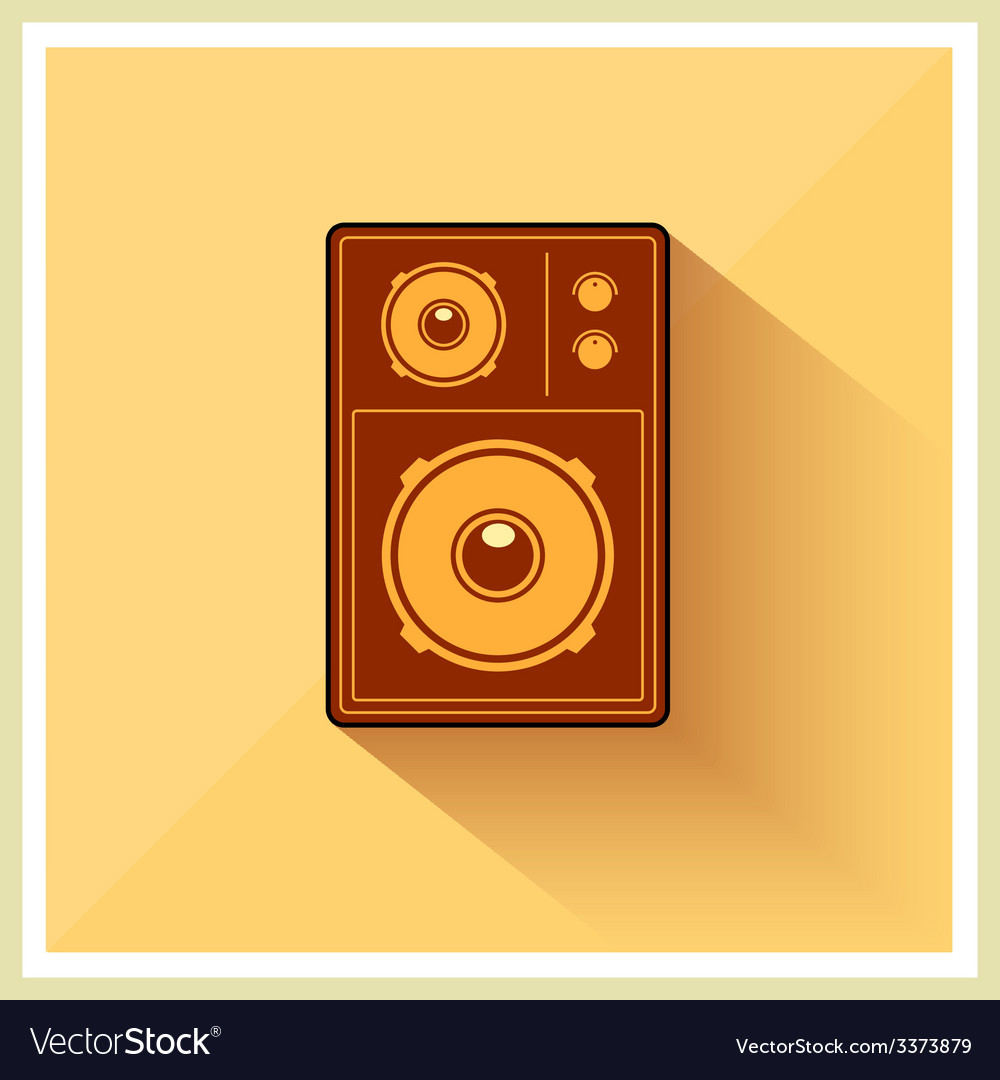Retro loudspeaker flat vintage icon vector | Price: 1 Credit (USD $1)