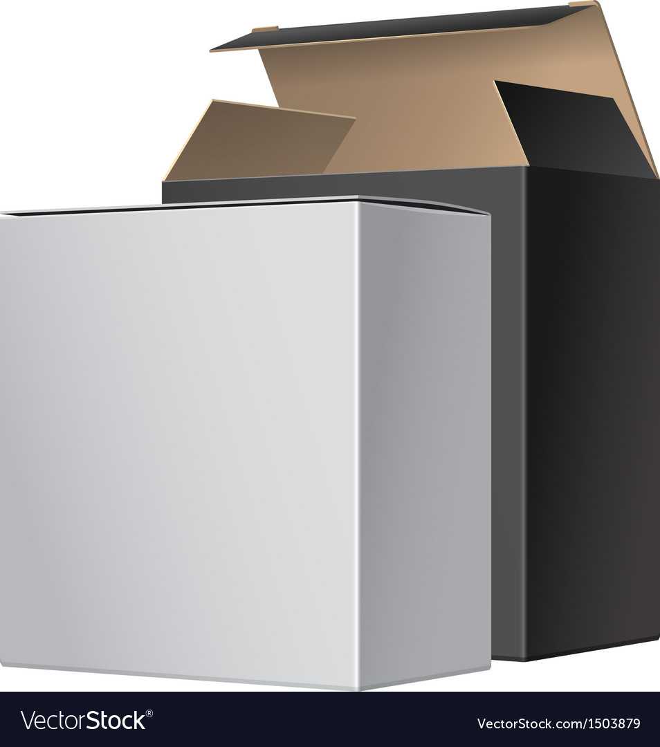 Two package box opened with dvd or cd disk vector | Price: 1 Credit (USD $1)