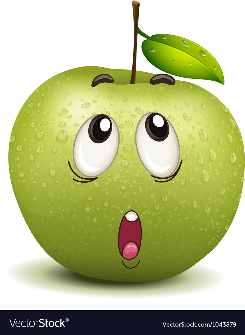 Wondering apple smiley vector | Price: 1 Credit (USD $1)
