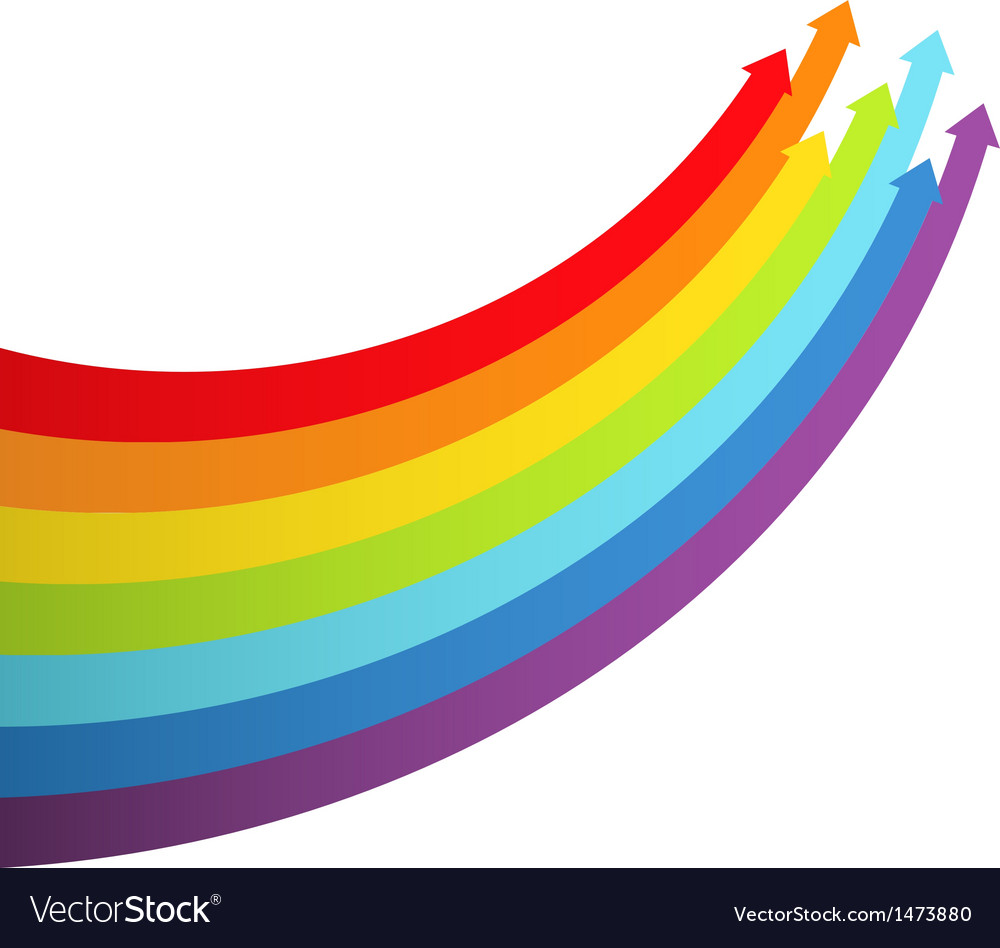 Background with rainbow lines with arrows vector