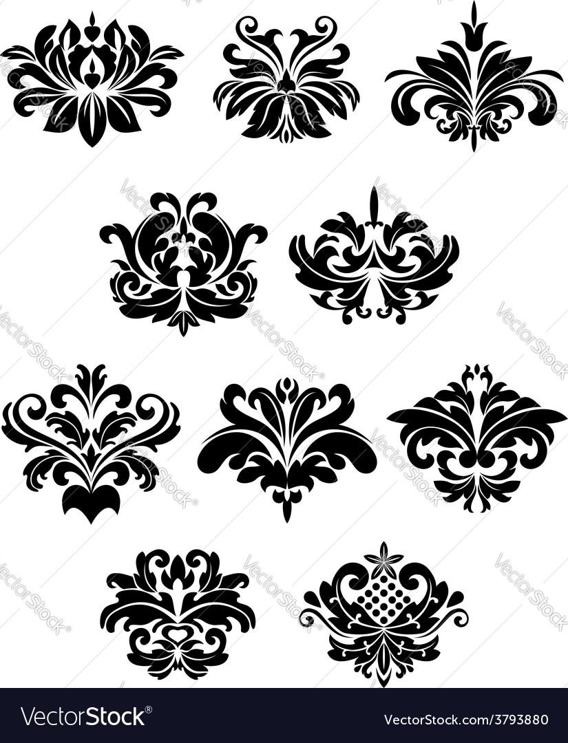 Black damask floral design elements vector | Price: 1 Credit (USD $1)