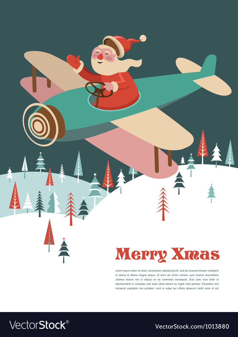 Christmas background with retro airplane and santa vector | Price: 1 Credit (USD $1)