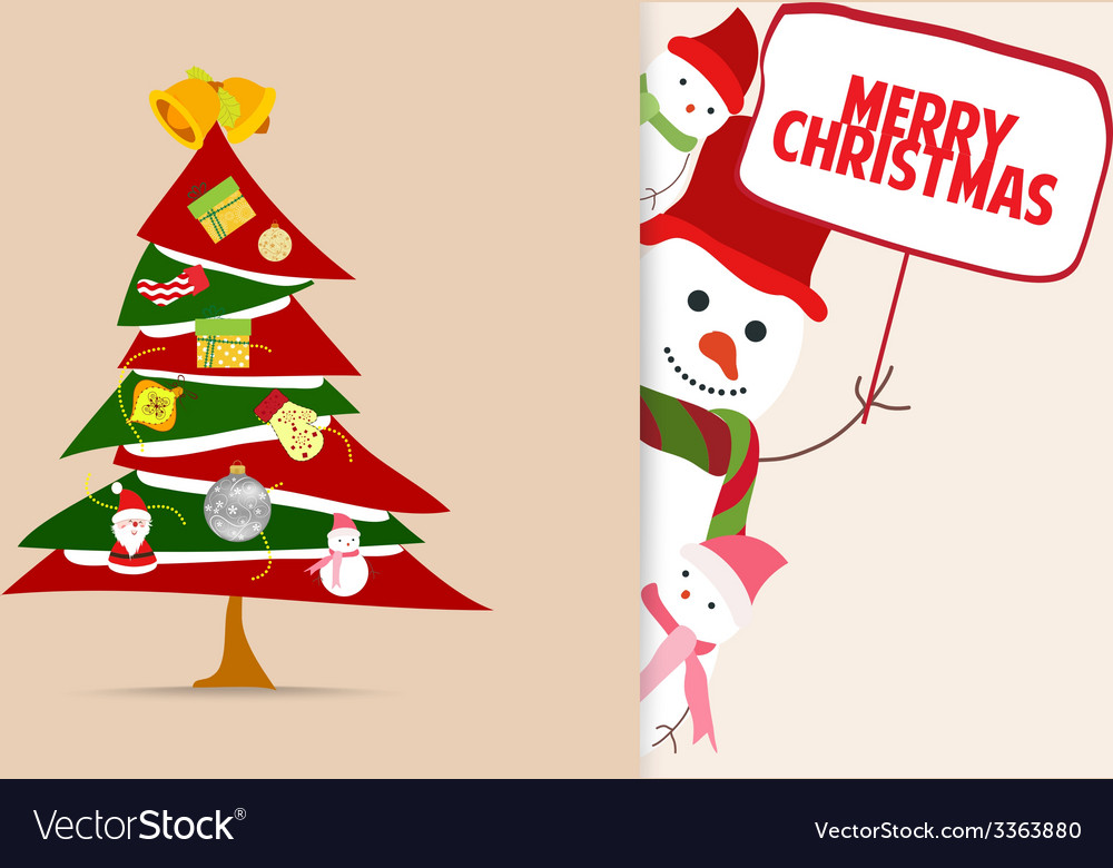 Christmas greeting card with tree decoration and vector | Price: 1 Credit (USD $1)