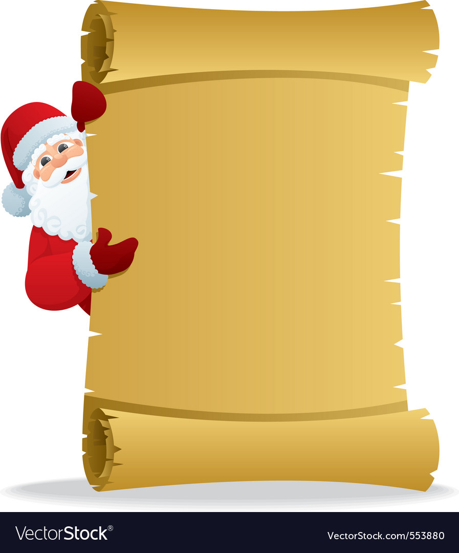 Santa with scroll vector | Price: 1 Credit (USD $1)