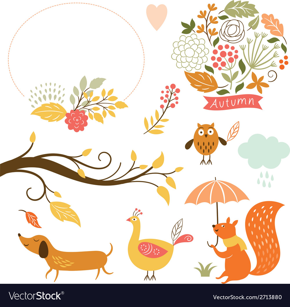 Set of cartoon characters and autumn elements vector | Price: 3 Credit (USD $3)