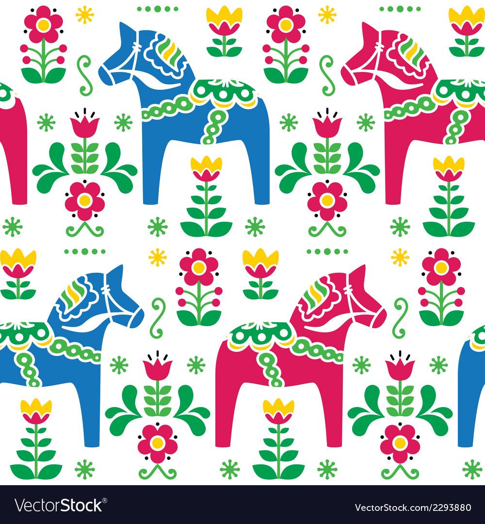 Swedish folk art dala daleclarian horse patter vector   Price: 1 Credit (USD $1)