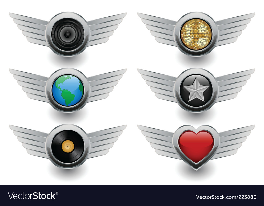Winged badges vector | Price: 1 Credit (USD $1)