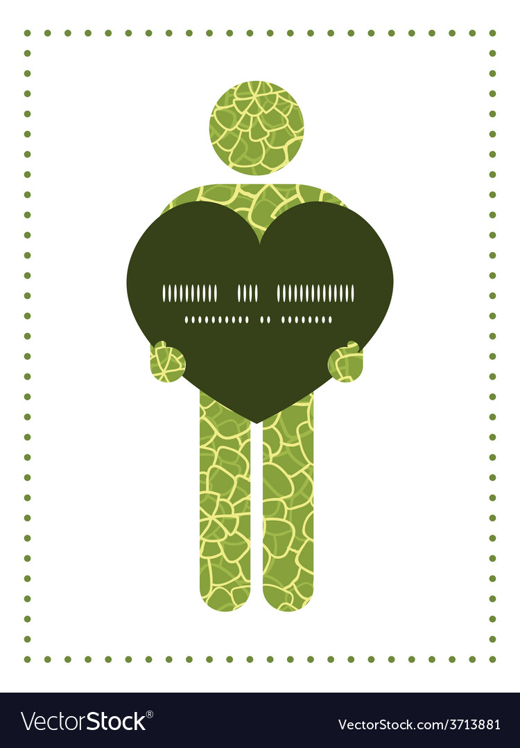 Abstract green natural texture man in love vector | Price: 1 Credit (USD $1)