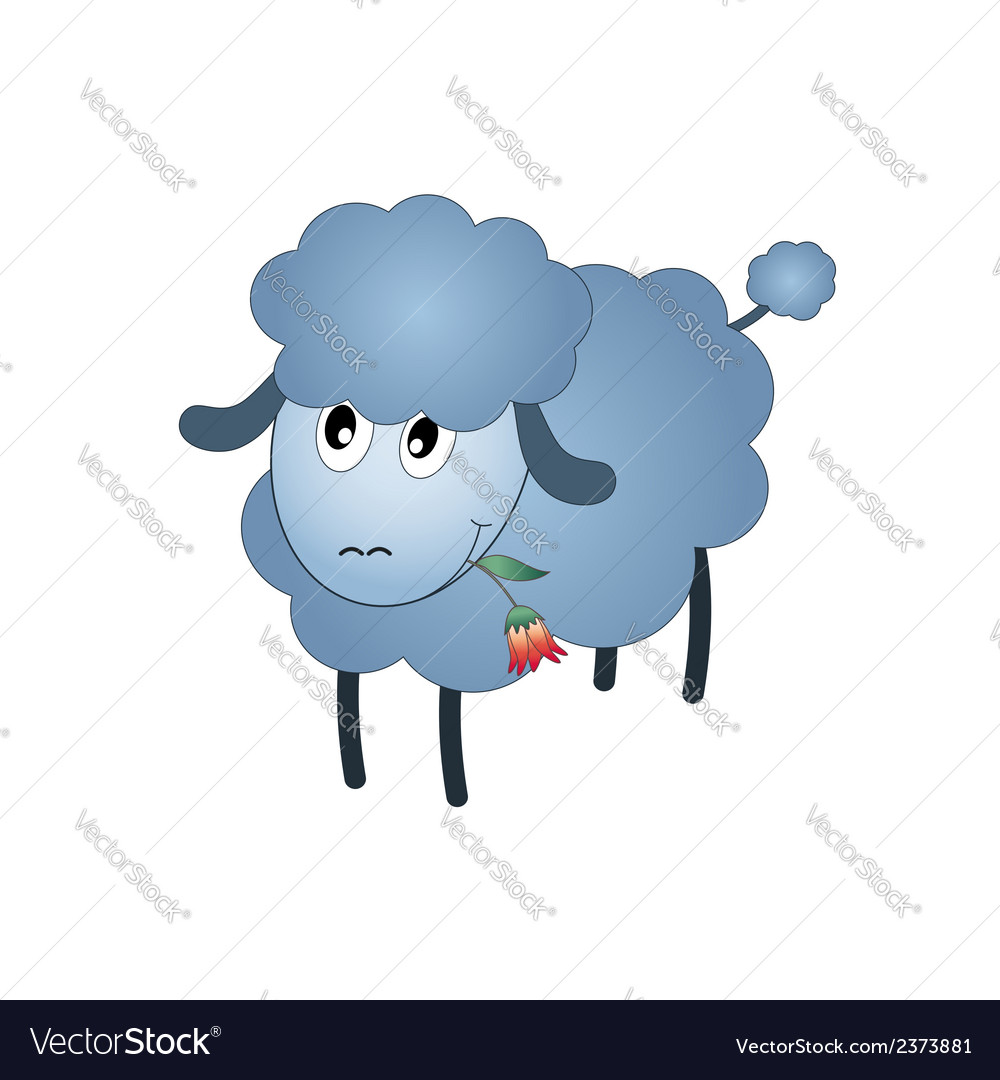 Black sheep cartoon character eating a flower vector | Price: 1 Credit (USD $1)