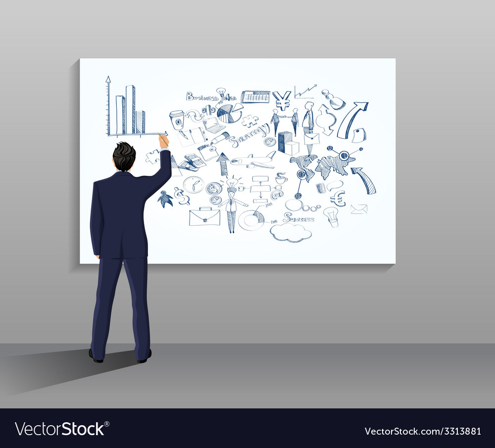 Businessman drawing vector | Price: 1 Credit (USD $1)