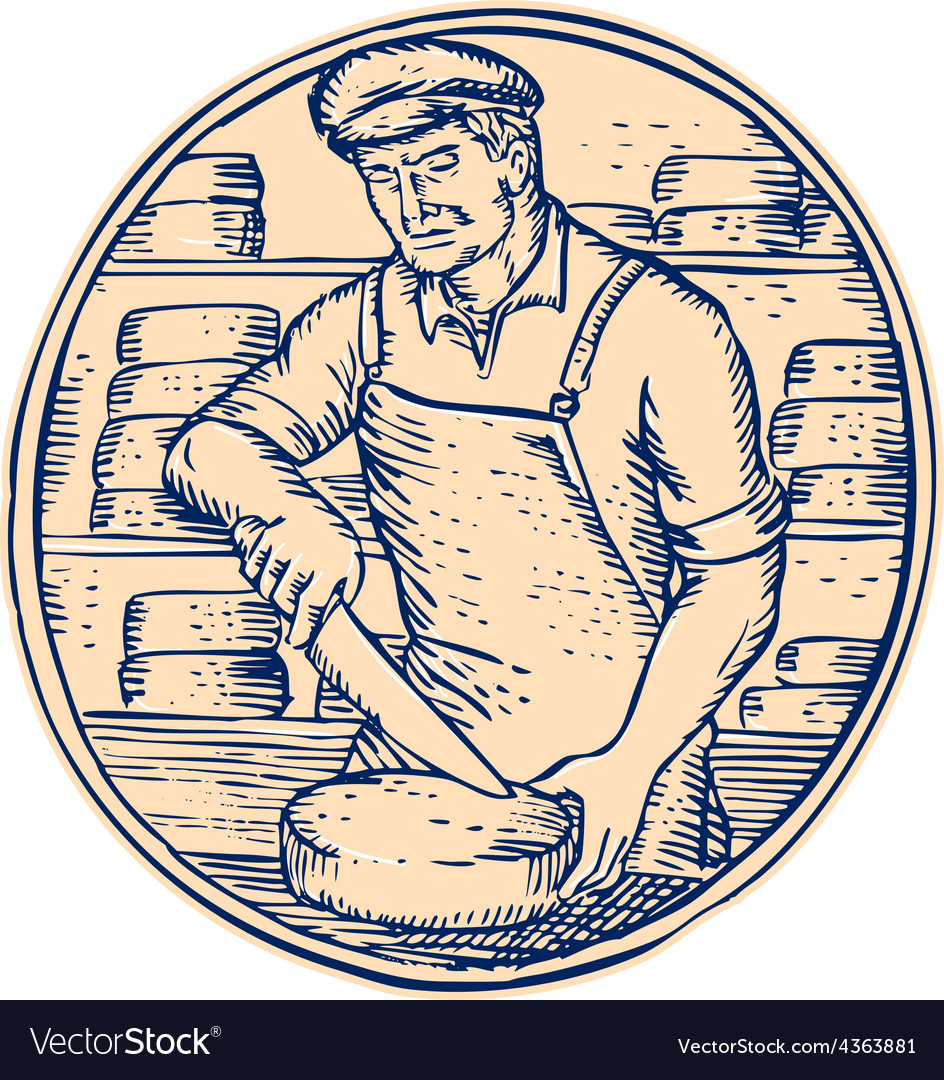 Cheesemaker cutting cheddar cheese etching vector | Price: 1 Credit (USD $1)