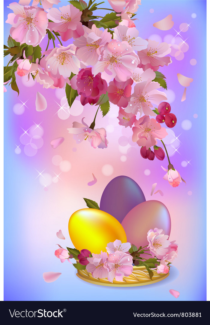Easter greeting card with branch of flowers and vector | Price: 1 Credit (USD $1)