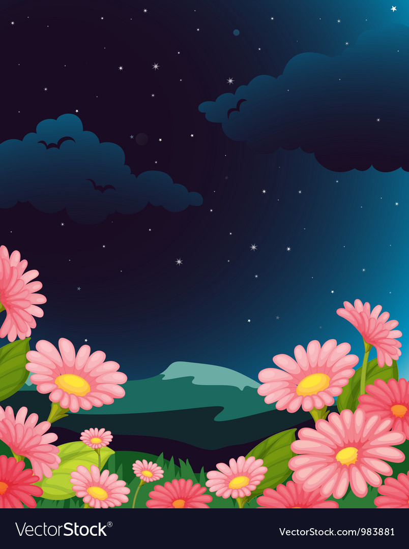 Evening floral fleid vector | Price: 1 Credit (USD $1)