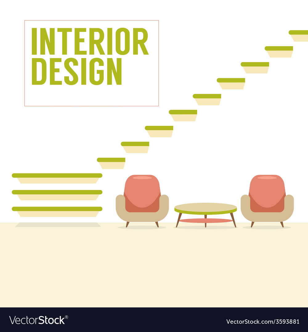 Interior design stairs with chairs set vector | Price: 1 Credit (USD $1)