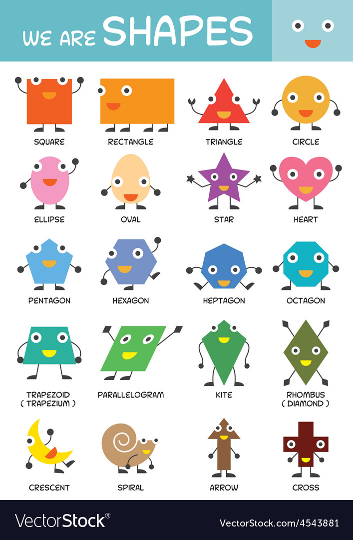 Kids basic shapes chart vector