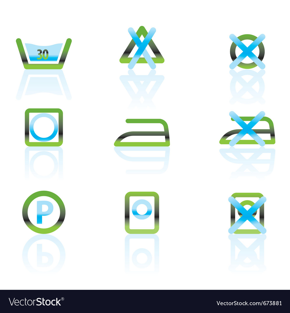 Laundry care and fabric symbols and icons vector | Price: 1 Credit (USD $1)
