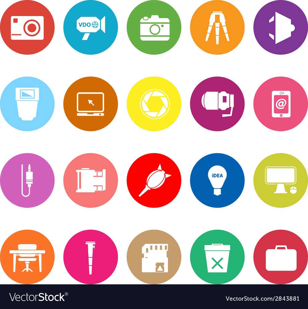 Photography related item flat icons on white vector | Price: 1 Credit (USD $1)