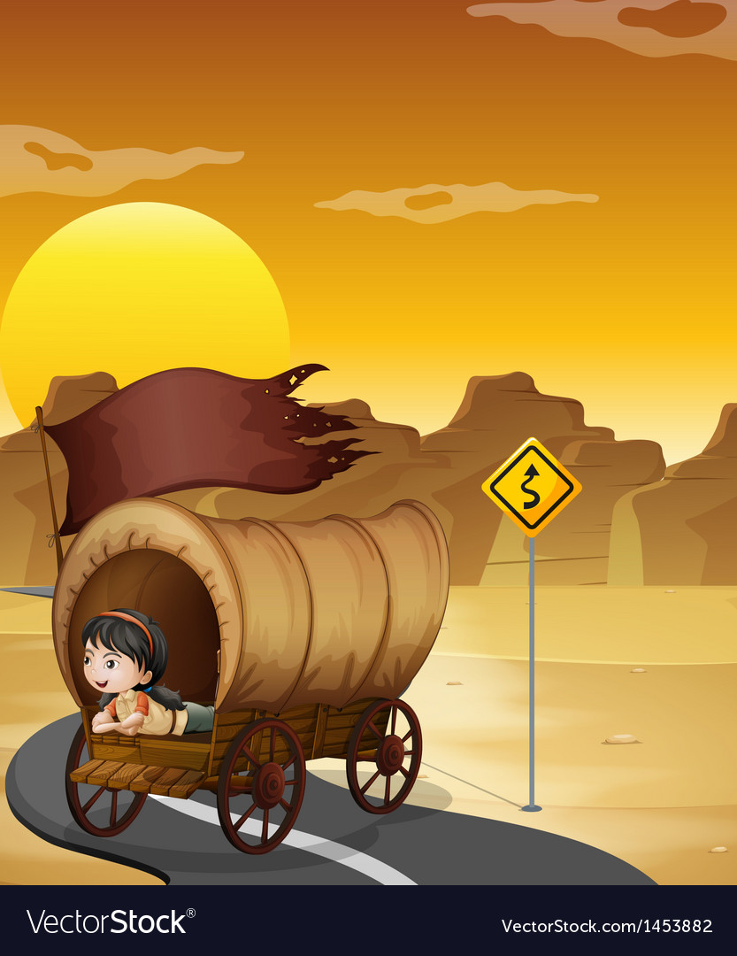 A girl inside the wagon at the street vector | Price: 1 Credit (USD $1)