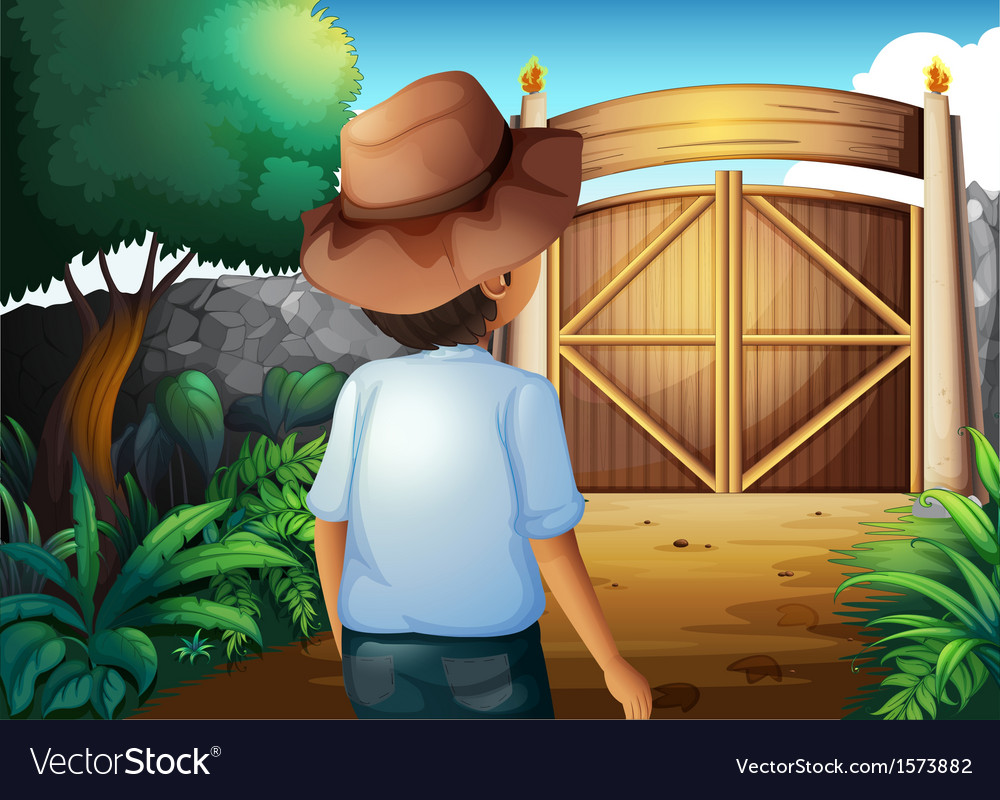A man with a hat inside the gated yard vector | Price: 3 Credit (USD $3)