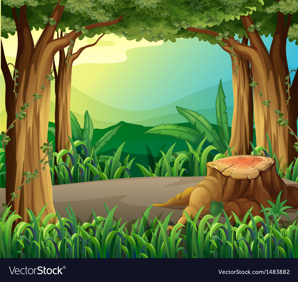 An illegal logging at the forest vector | Price: 1 Credit (USD $1)