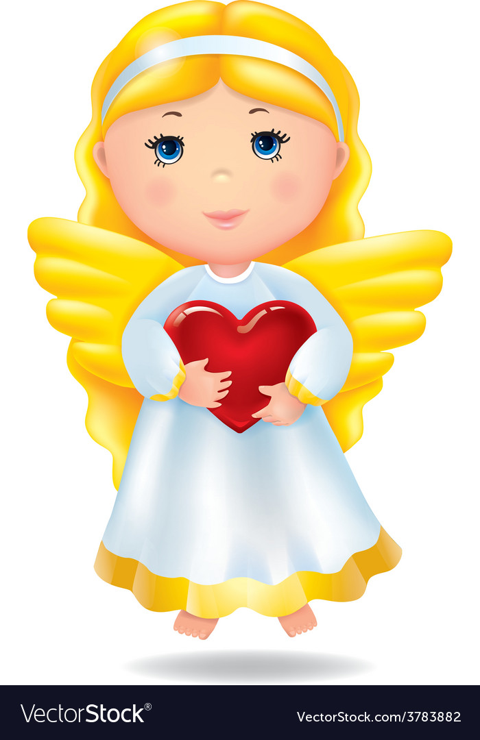 Angel with red heart vector | Price: 3 Credit (USD $3)