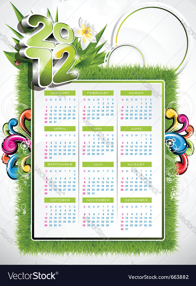 Calendar design 2012 with nature design vector | Price: 3 Credit (USD $3)