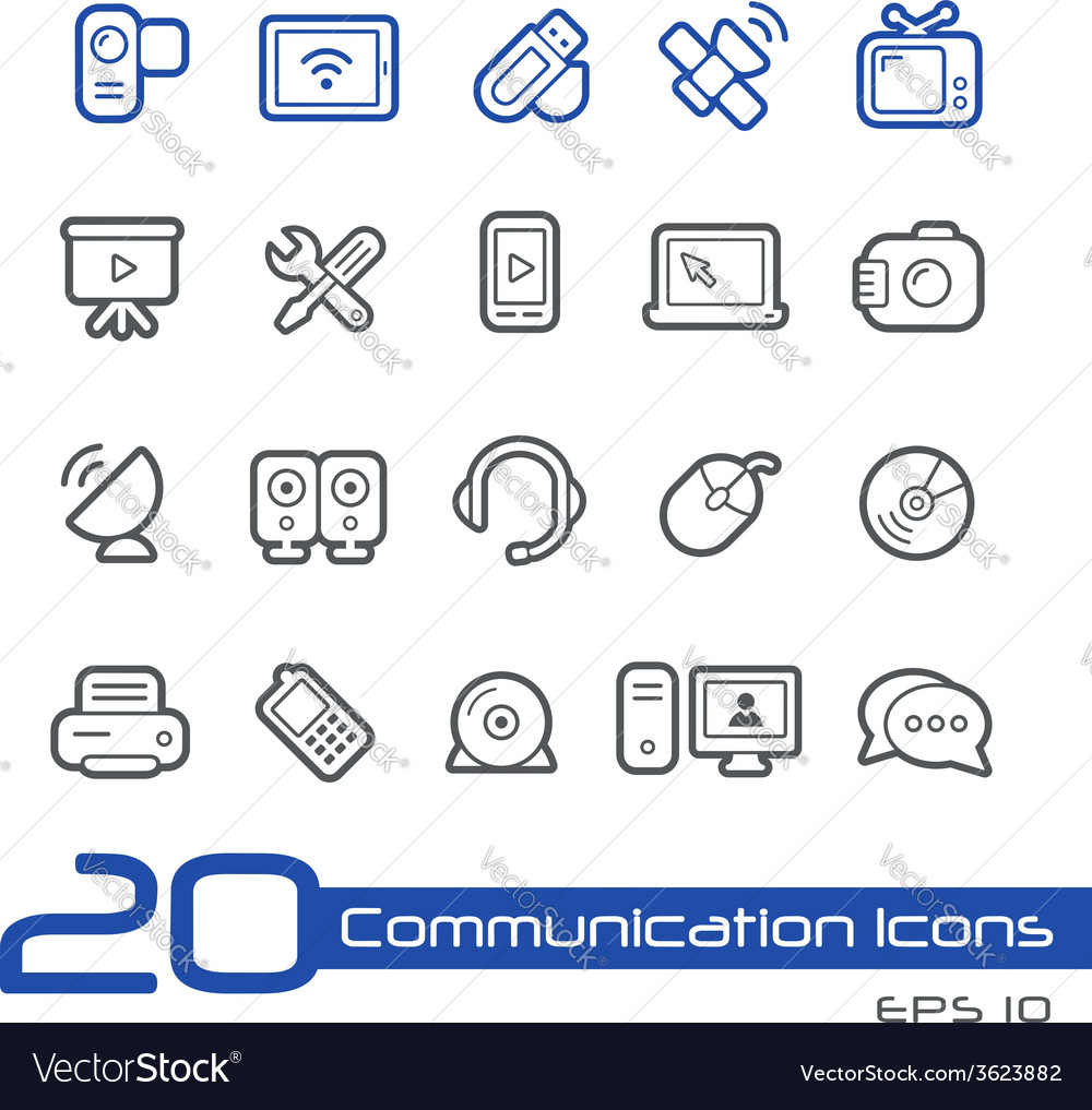 Communications icons outline series vector | Price: 1 Credit (USD $1)