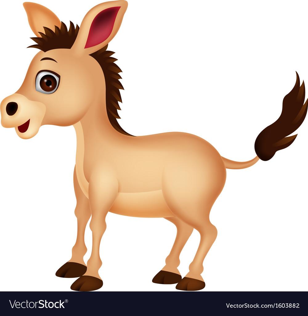Cute donkey cartoon vector | Price: 1 Credit (USD $1)
