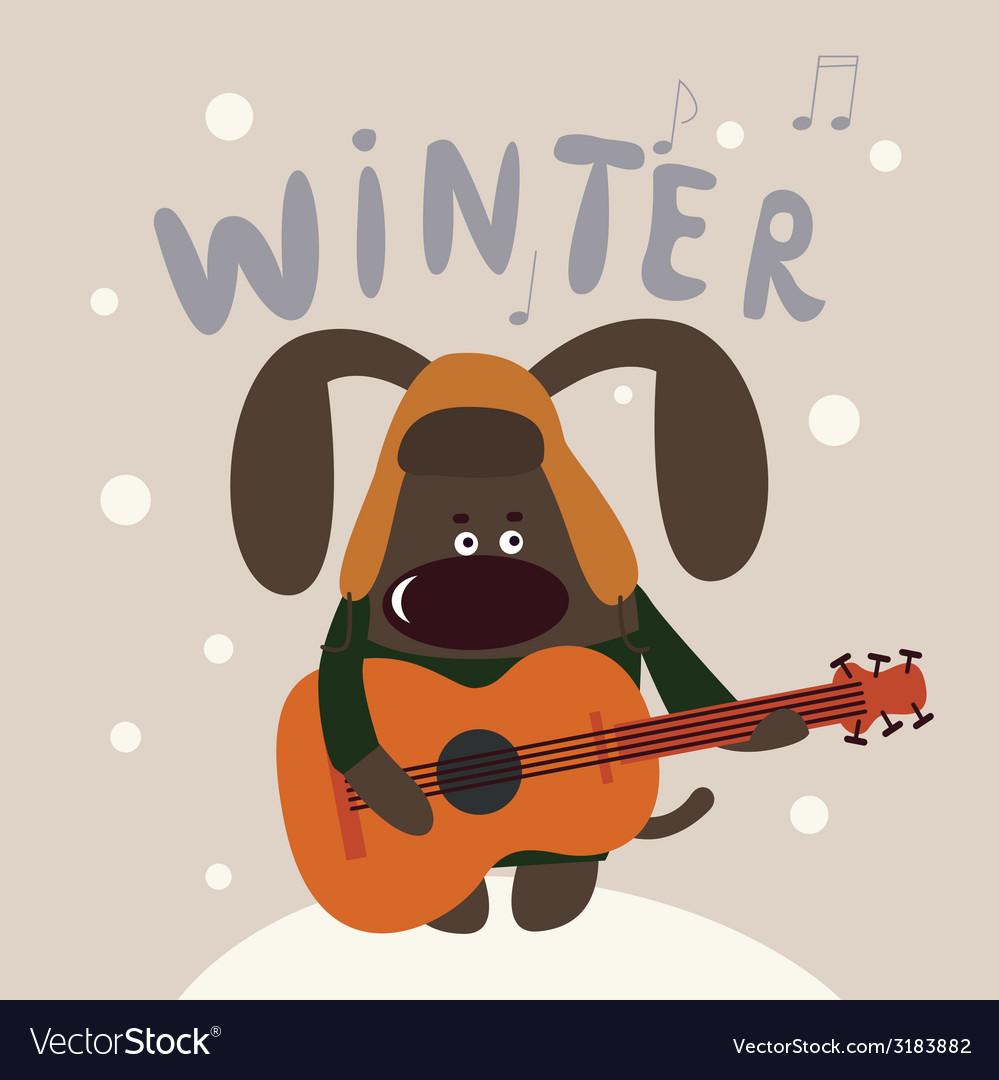 Cute winter doggie musician vector | Price: 1 Credit (USD $1)