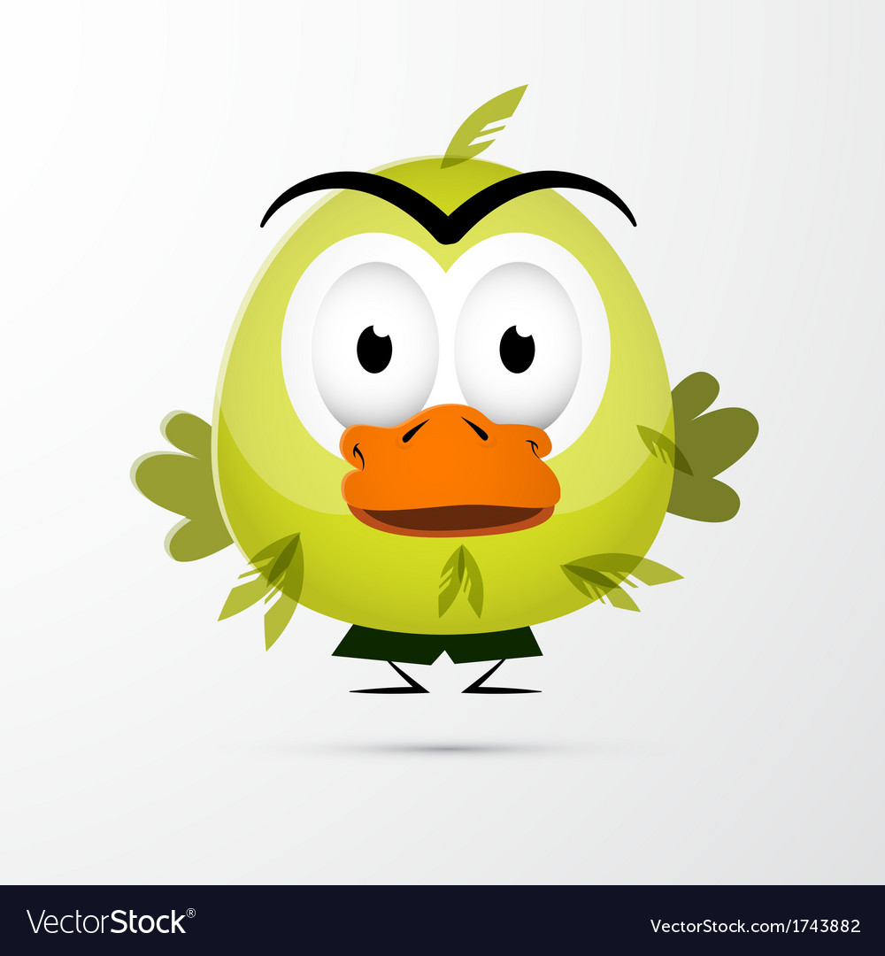 Funny green bird vector | Price: 1 Credit (USD $1)