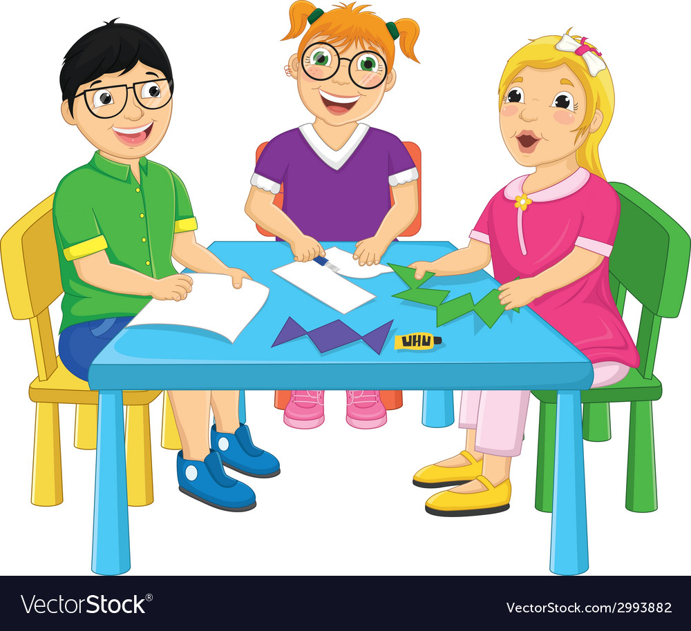 Kids working on table vector | Price: 1 Credit (USD $1)
