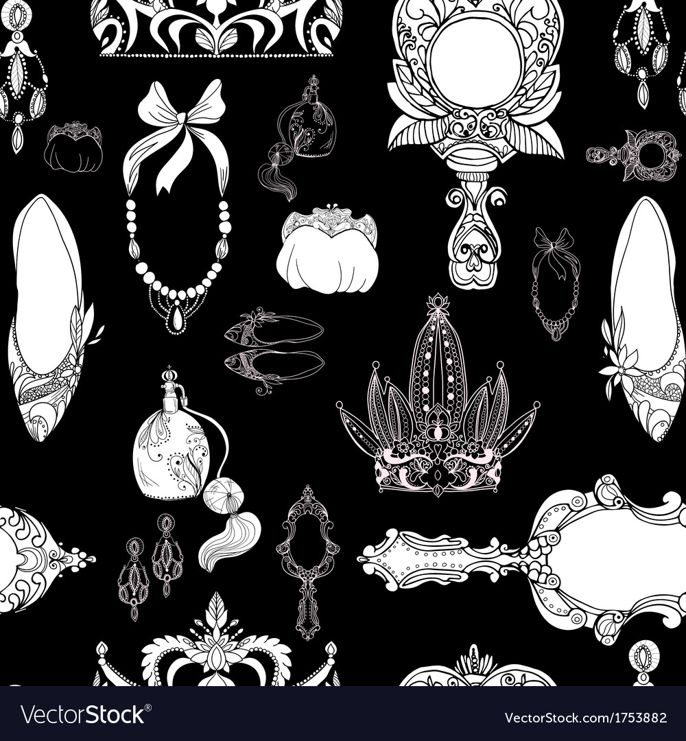 Seamless princess accessories on black vector | Price: 1 Credit (USD $1)