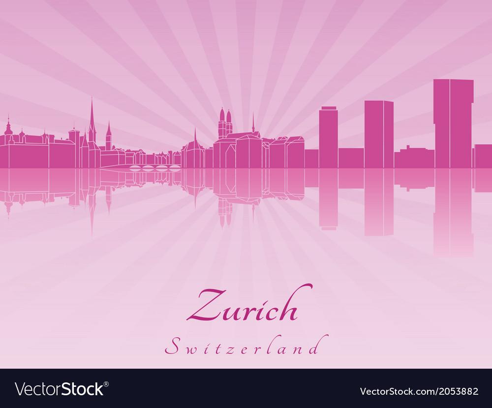 Zurich skyline in purple radiant orchid vector   Price: 1 Credit (USD $1)