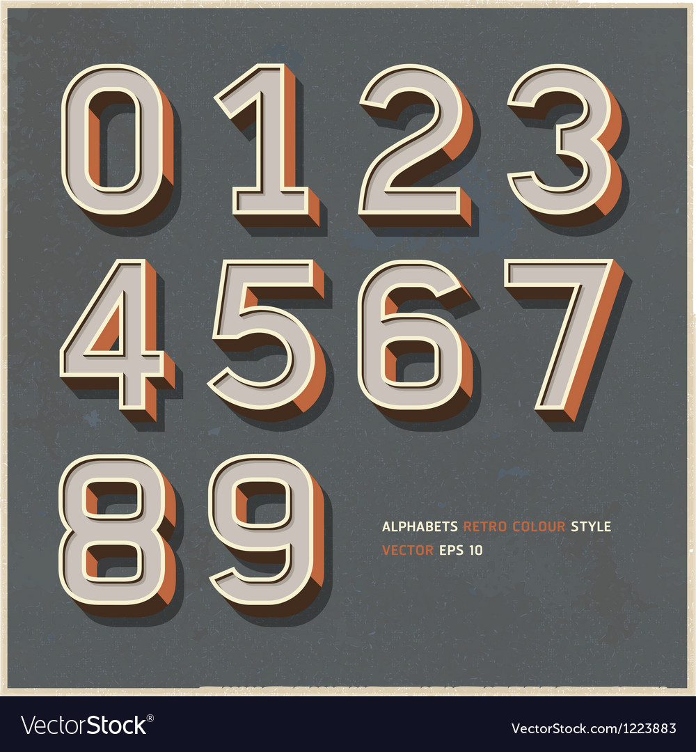 Alphabet number retro color vector