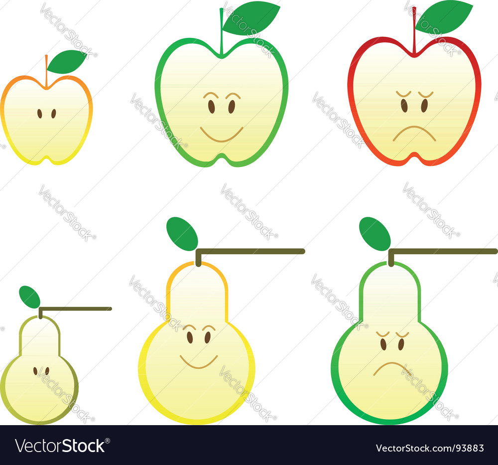 Apple and pear icons vector | Price: 1 Credit (USD $1)