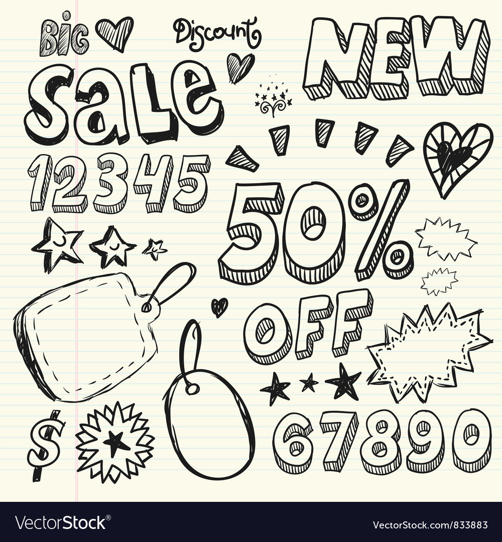 Doodle percent discount vector | Price: 1 Credit (USD $1)
