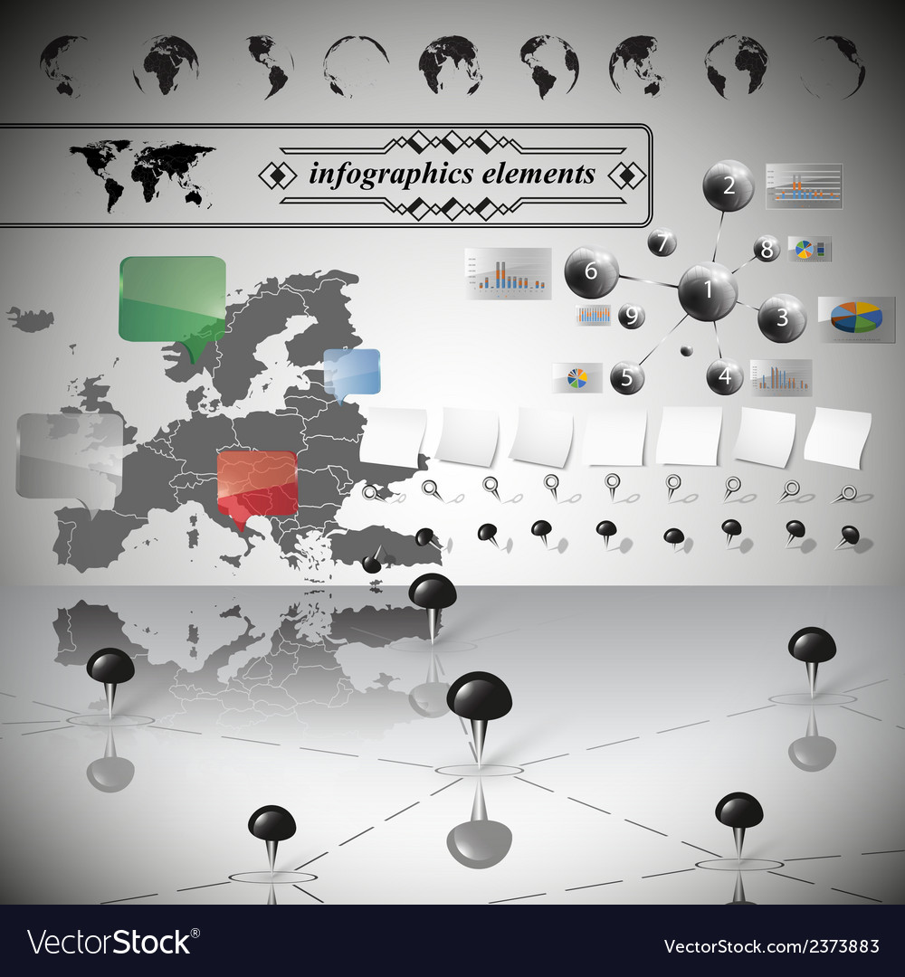 Europe map different icons and information vector | Price: 1 Credit (USD $1)