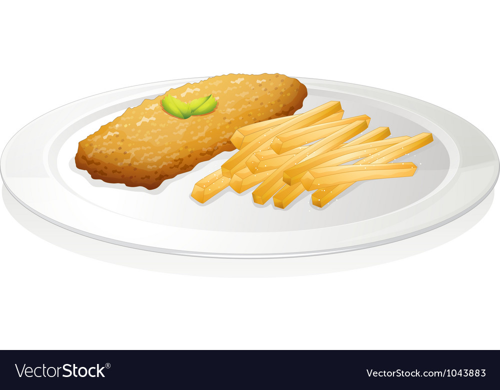 French fries and cutlet vector | Price: 1 Credit (USD $1)