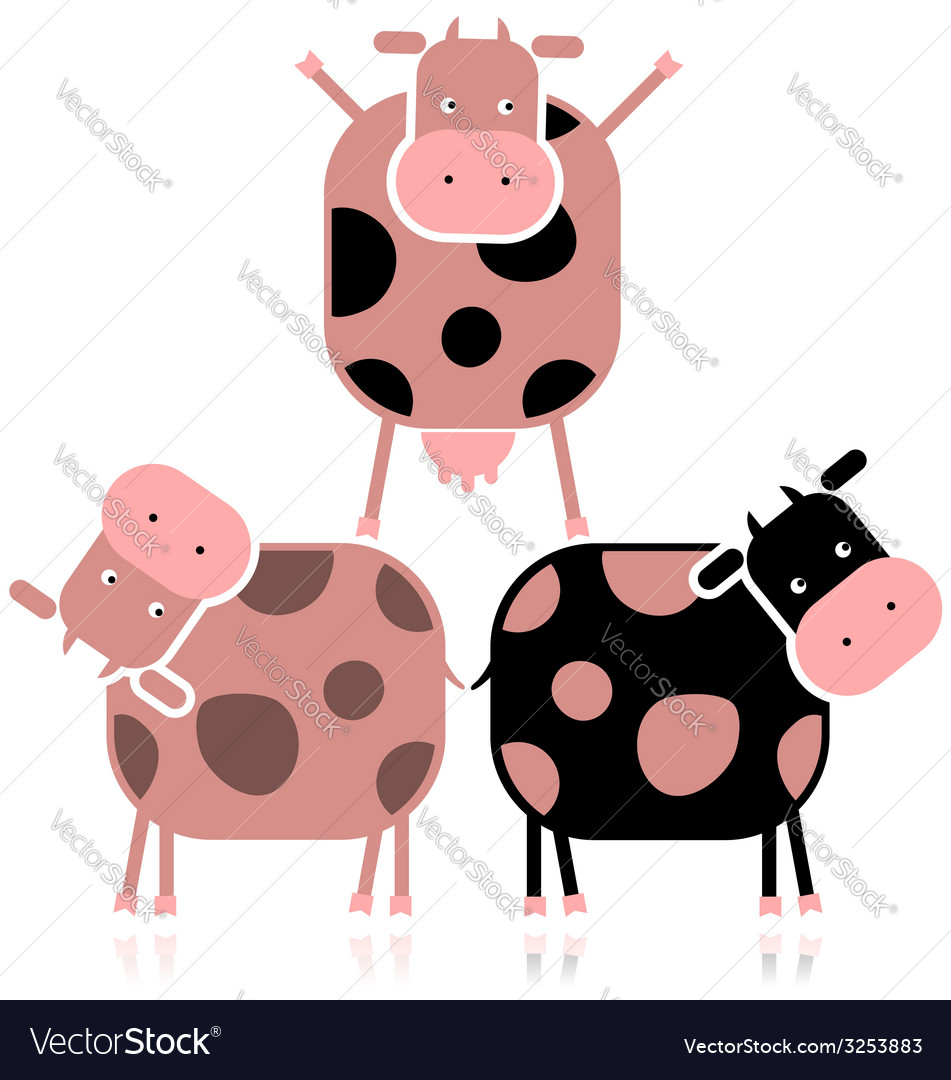 Funny cows for your design vector | Price: 1 Credit (USD $1)