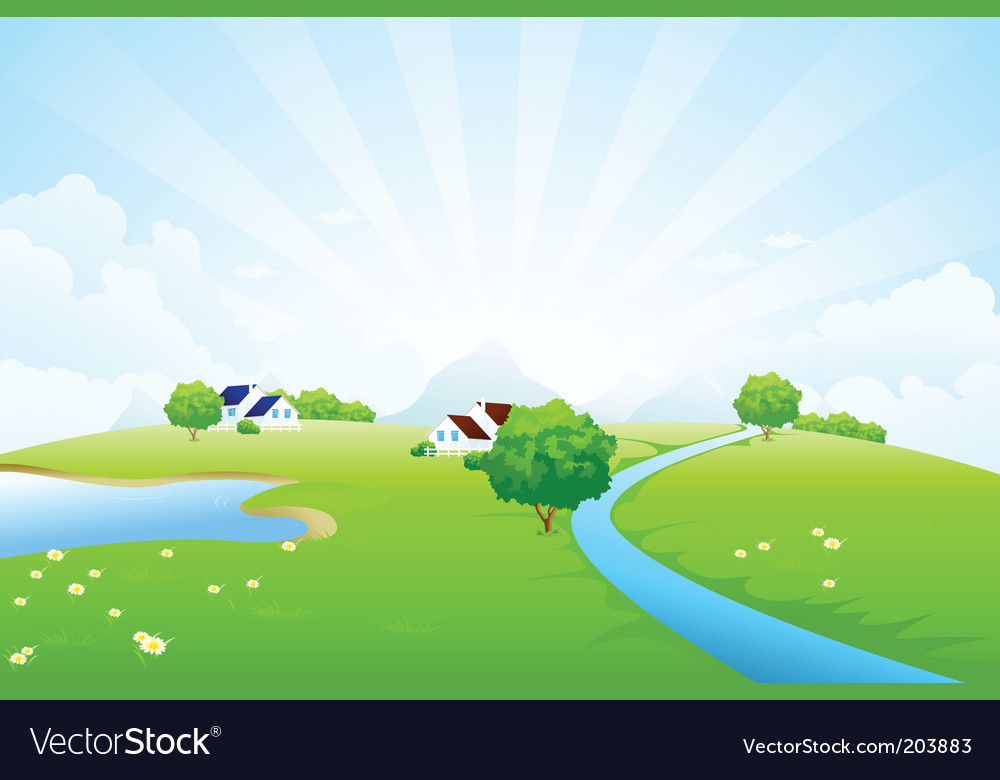 Green landscape vector | Price: 1 Credit (USD $1)