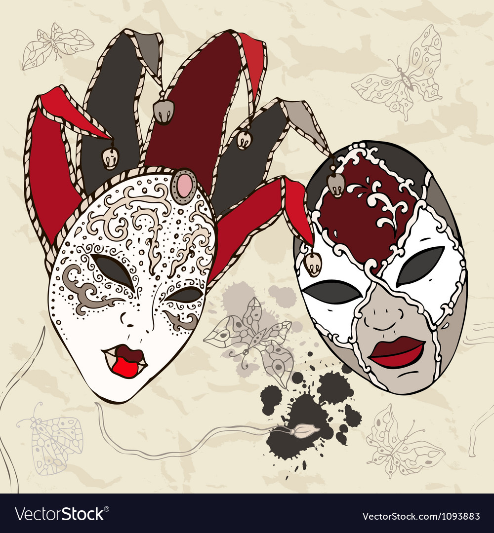 Hand drawn venetian carnival masks vector | Price: 1 Credit (USD $1)