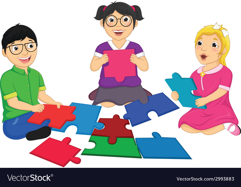 Kids playing puzzle vector | Price: 1 Credit (USD $1)