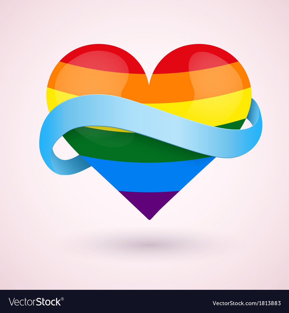 Lgbt background rainbow heart and ribbon vector | Price: 1 Credit (USD $1)